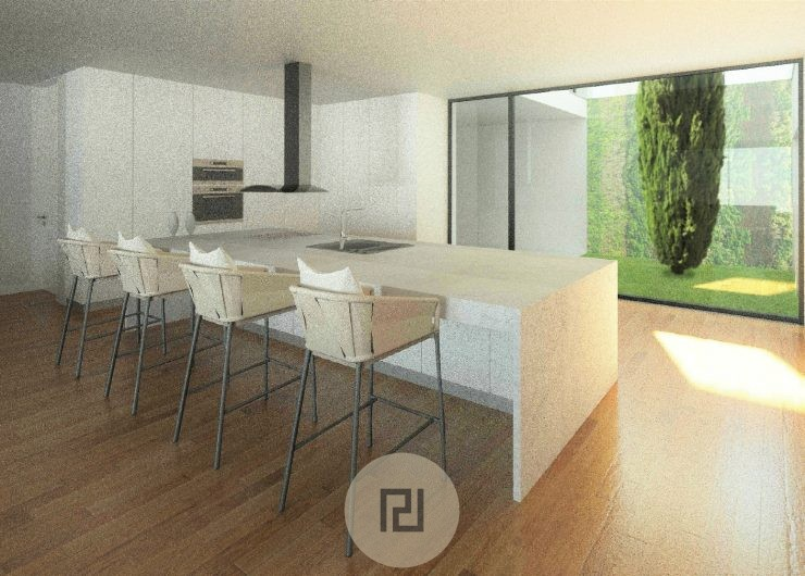 Cozinha com jardim interior